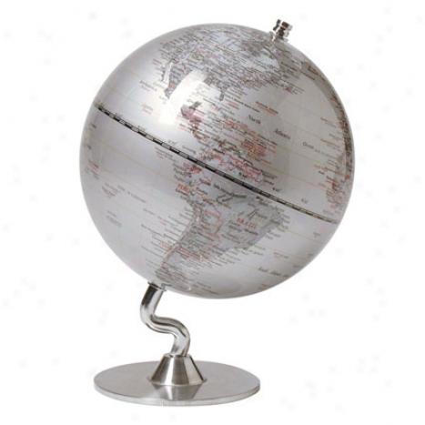 Silver Ocean Globe Small By Kikkerland