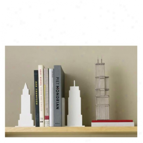 Skyline Bookends Set Of 2 By Design Ideas - White