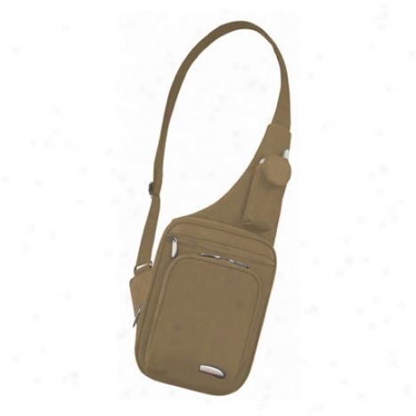 Slim-line Messenger-style Shoulder Bag -  Khaki Microfiber