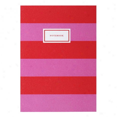 Stripe Notebook - Pungent Pink/bright Red
