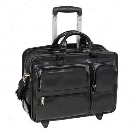 The Clinton 17 Inch Detachable-wheeled Leather Case By Mcklein - Black