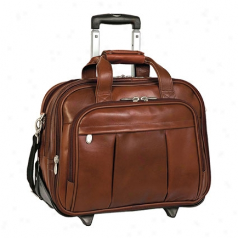 The Damen 17 Inch Detachabie-wheeled Leather Case By Mcklein - Brown