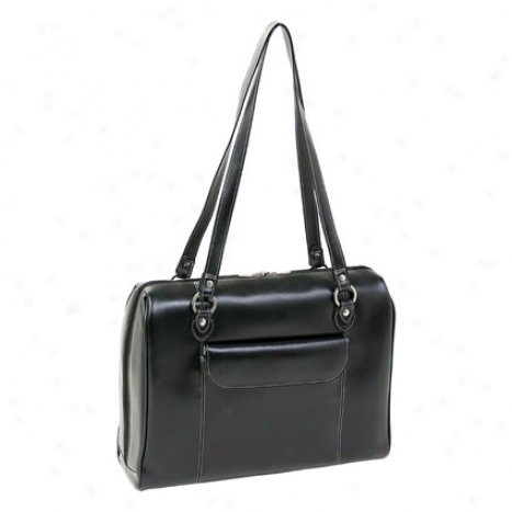 The Glenview Leather Ladies' Laptoop Case By Mcklein - Black