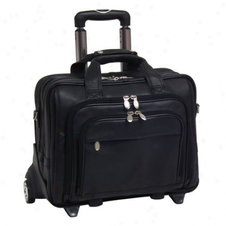 The Gold Coast 17 Inch Leather Wheeled Laptop Case By Mcklein - Black