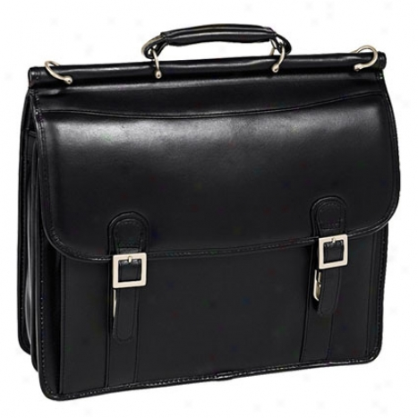 The Halsted Leather Double Compartment Laptop Case By Mcklein - Black