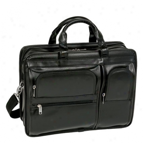 The Hubbard Leather Double Compartment Laptop Case By Mcklein - Black
