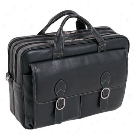 The Kenwood Leather Double Compartment Laptop Case By Mcklein - Black