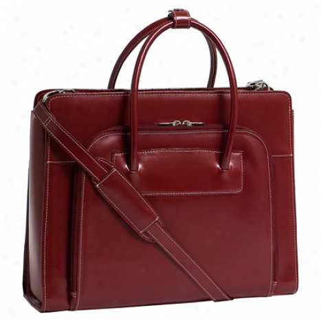 The Lake Forest Ladiee Leather Briefcase By Mfklein - Red