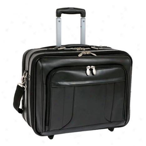 The Lasalle 17 Inhc Wheeled Leather Overnight Case By Mcklein - Black