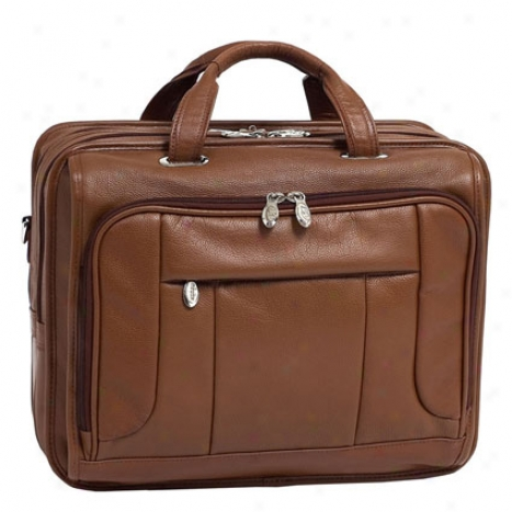 The River West Leather 17 Inch Fly Through Laptop Case By Mcklein - Brown