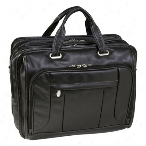 The River West Leather 17 Inch Fly Through Laptop Case By Mcklein - Black