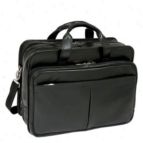 The Walton Leather 17 Inch Expandable Double Division Laptop Case By Mcklein - Black