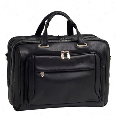 The West Loop Leather Expandable Doubl eCompartment Briefcase By Mcklein - Black