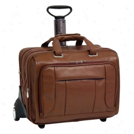 The West Town 17 Inch Leather Wheeled Laptop Case By Mcklein - Brown