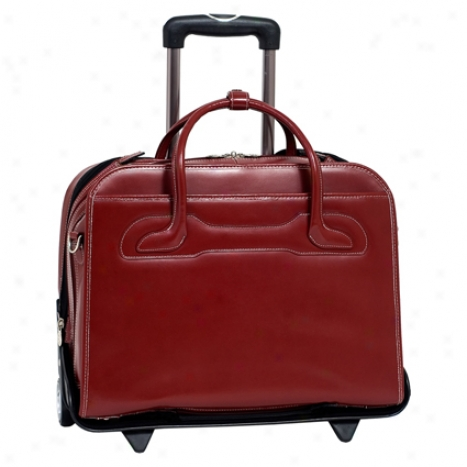 The Willowbrook Detachable-wheeled Ladies Briefcase By Mcklein - Red