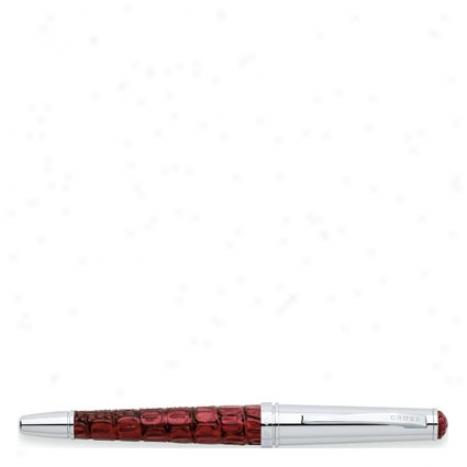 Torero Jet Pen Fine Nib By Cross - Bordeaux Crocodile Embossed Leather