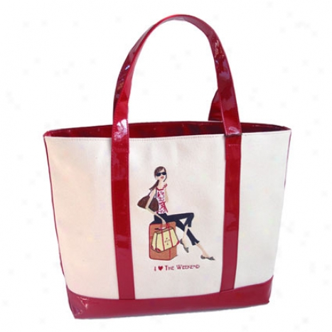 Travel Girl Canvas Tote By Bonnie Marcus - Red