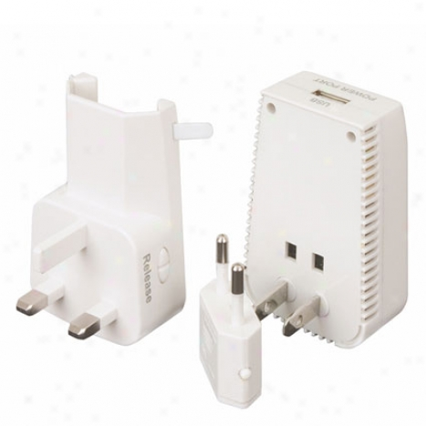 Universal 3-in-1 Adapter, Converter, & Usb Charger White