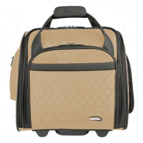 Wheeled Uderseat Carry-on -  Khaki Quilted Microfbier