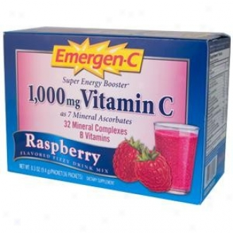Alacer's Emergen-c 1000mg Vitamin-c Energy Booster Raspberry 30pkt