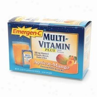 Alacer's Emergen-c Multi-vitamin Plus Apricot-mango Fizzy Drink 30pkts