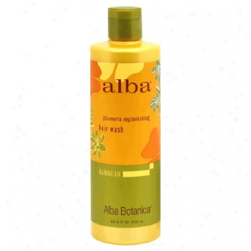 Alba's Haair Wash Hawaiian Plumeria Replenish 12oz