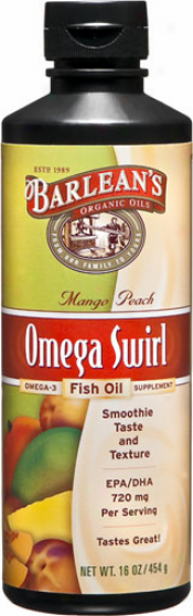 Barlean Omega Swirl Mango Peach Fish Oil 16 Fl Oz