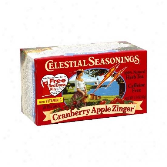 Celestial Seasoning's Craanberry Apple Zinger Herb Tea 20bagq
