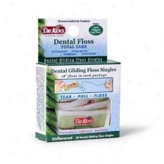 Dr. Ken's Dental Gliding Floss Singles Unflavored 10yds