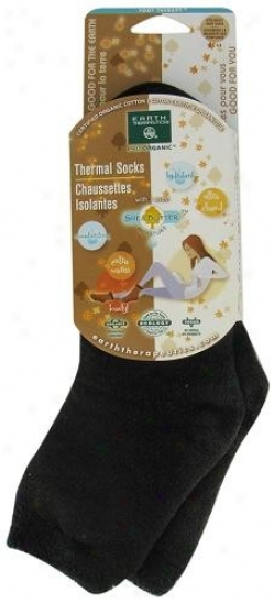 Earth Thrrapeutics Socks Orgaic Thermal Women's Brown/black Trim 1pair