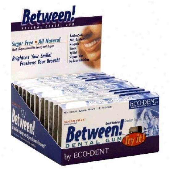 Ecodent's Between Cool Mint Dental Gum Sf 12pcs/12pkts