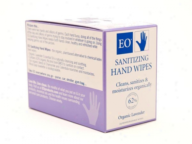 Eo's Hand Sanitizer Towelettes Organic Lavender 24towelettes