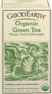 Good Earth's Tea Organic Green Mango Peach And Pineapple 18bags