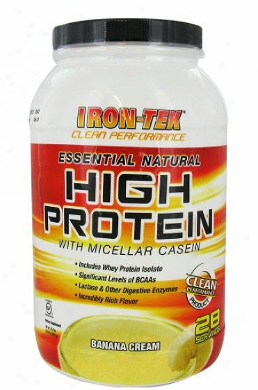 Irontek's Essential Natyral High Protein Banana Cream 2.2lb