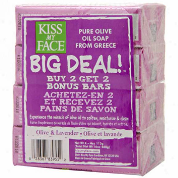 Caress with the lips My Face's Soap Bar Olkve Oil & Lavender Multipack 4/4oz