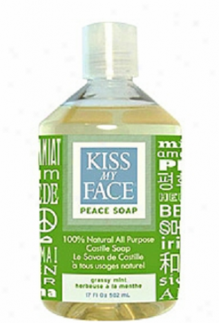 Kiss My Face's Soap Liquid 100% Natural All Purpose Castile Grassy Mint Peace 17 Fl Oz