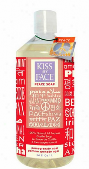Kiss My Face's Soap Liquid 100% Natural All Purpose Castile Pomegranate Acai Peace 34 Fl Oz
