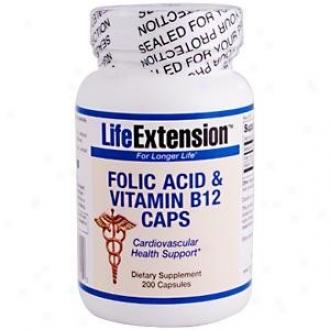 Life Extension's Folic Acix & Vitamin B12 Caps 200caps