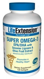 Life Extension's Super Omega-3 Epa/dha W/ Sesame Lignans & Olive Fruit Exrract 120sg