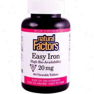 Natural Factore Natural Iron High Bio-availability 20mg  60 Chewable Tabs 30% Off