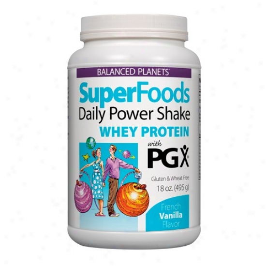 Natural Factors Superfoods Daily Power Shake W/pgx Whey Protein French Vanilla 18oz