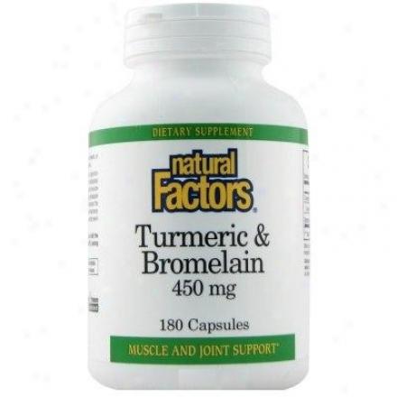 Natural Factors Turmeric & Bromelain 450mg 180capps