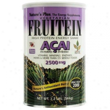 Nature's Plus Fruitein Acai High Protein Energy Shake Vegetarian Powdee 1.2lb