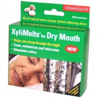 Orahealth's Xlimelts For Dry Mouth Xylitol Adhering Discs Mild Mint Flavor 60discs