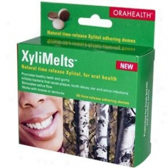 Orahealth's Xylimelts Xylitol iTme-release Adhering Domes 60tabs