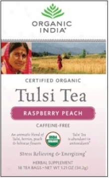 Organic India's Tulsi Supper Organic Raspberry Peach 18ct