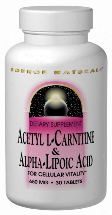 Source Naturals Acetyl L Carnifine+ Alpha Lipoic Acid 650 Mg 120 Tabs