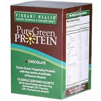 Vibrant Health's Mere Green Protein, Choc, 10 X 29.8 Gm. Pkts