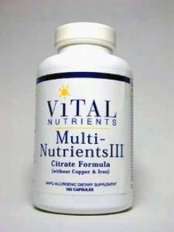 Vital Nutrient's Multi-nutrients Iii (citrate) 180 Caps