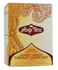 Yogi's Honey Lemon Throat Comfort Organic Tea Caff Free 16tbags